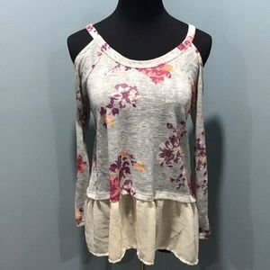NWOT About a Girl mixed media cold shoulder S